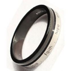 خاتم أسود وفضي مع نشيد المحبة